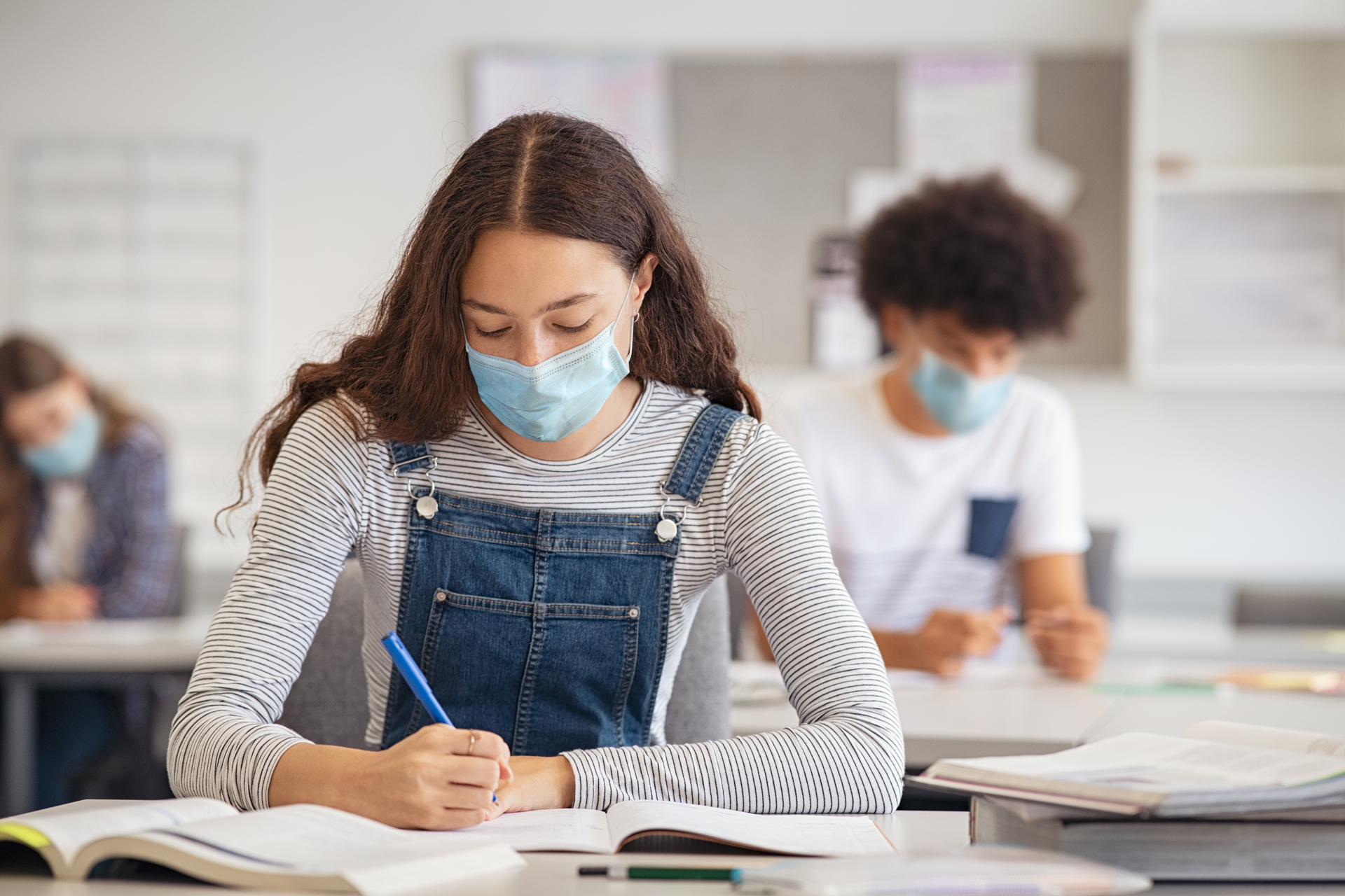 Students Wearing Masks in Class